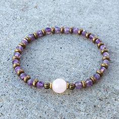 "Amethyst and Rose Quartz ""healing"" bracelet. #valentinesday"