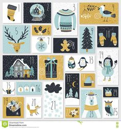 Christmas Advent Calendar, Hand Drawn Style. - Download From Over 68 Million High Quality Stock Photos, Images, Vectors. Sign up for FREE today. Image: 79932219