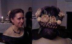 This hairdo employs two of the tutorials on this board: the chignon and braiding-in hair extensions. She has short, shoulder length hair and bangs. The braids are 90% fake hair. The chignon was formed around a ratt, and held together with a fine hair net. Photos from Gadsby's Tavern Museum's Civil War Ball 2014.