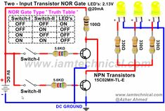 NOR Gate Using NPN Transistor | IamTechnical.com