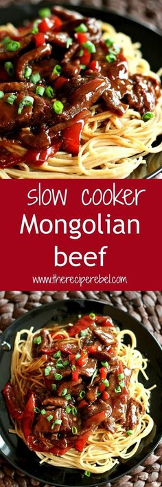 Slow Cooker Mongolian Beef: Tender beef cooks in a rich, dark, sweet and sour sauce in the crock pot -- the perfect easy meal for weeknights! www.thereciperebel.com
