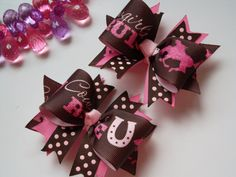 Little Cowgirl Bows Toddler Bows for by ransomletterhandmade, $10.00 I can change these colors, too! Message me on Etsy! #babycowgirl #ransomletterhandmade #littlecowgirlbows