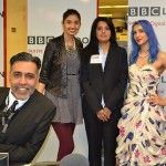 Sukki Singapora on air at the BBC Radio, London for the Sunny and Shay show.