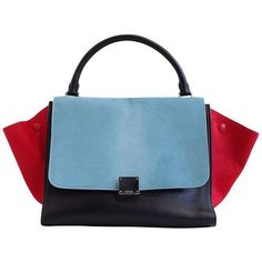 Preowned Celine Red And Sky Blue Pony Hair Trapeze Bag (93 485 UAH) ❤ liked on Polyvore featuring bags, handbags, purses, red, top handle bags, blue purse, red handbags, sky blue handbag, handbag purse and hand bags