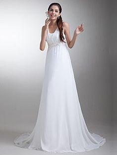 Chiffon Empire Wedding Dress with Embellished Sash - USD $186.62