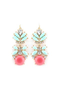 Aria Earrings in Minty Turquoise + Pink