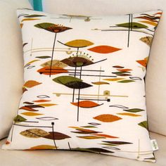 Retro Pillow Cover  Vintage Barkcloth  Jetsons  by atomiclivinhome, $78.00