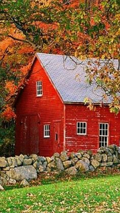 Red barn house in the fall Country Barns, Country Life, Country Living, Country Fall, Country Roads, Farm Barn, Country Scenes, Red Barns, Old Buildings