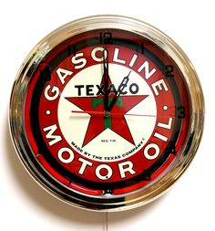 Pin Premium Texaco Gasoline Motor Oil Red Neon Clock Garage Decor Gas & Oil Texas Co