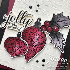 Color Challenge Christmas Gleaming Bundle by Stampin' Up! Handmade Card by Stesha Bloodhart, Stampin' Hoot! Homemade Christmas Cards, Stampin Up Christmas, Christmas Baubles, Christmas Fun, Christmas Stocking, Xmas Cards, Holiday Cards, Fun Cards, Baby Cards
