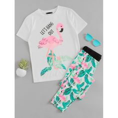 Shop Flamingo And Jungle Leaf Print Top And Pants Pajama Set online. SheIn offers Flamingo And Jungle Leaf Print Top And Pants Pajama Set & more to fit your fashionable needs. Fashion Kids, Girls Fashion Clothes, Clothes For Women, Teen Clothing, Modern Clothing, Teens Clothes, Latest Clothes, Punk Fashion, Summer Clothes
