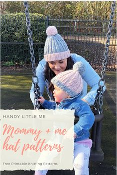 Mommy and Me Handknit Simply Heart hats