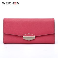 WEICHEN Brand Envelope Design Genuine Leather Women's Long Wallets Hasp Female Wallet Clutch Bags Card Holders For Lady Purses
