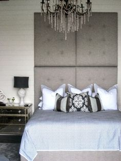 Beautiful Master Bedrooms - I love the head board and the chandelier!