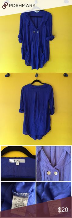 S.Line Cobalt Blue Tunic Top Beautiful S. .Line Cobalt Blue Tunic Top, 2 button closure under rounded neck line.  Light weight material and a great layering piece over a cami or long sleeve tee. Sleeves can be rolled up with button closure or left long Tops Tunics