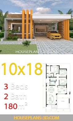 House Design with 3 Bedrooms terrace roof - House Plans Beautiful House Plans, Dream House Plans, Modern House Plans, Small House Plans, Simple House Design, Minimalist House Design, Modern House Design, Small Home Design, House Layout Plans