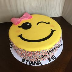 Emoji smiley face birthday cake