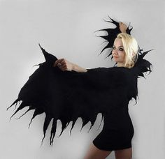 Felted Scarf Wings Scarf Gothic Surreal Gothic BLACK door filcant