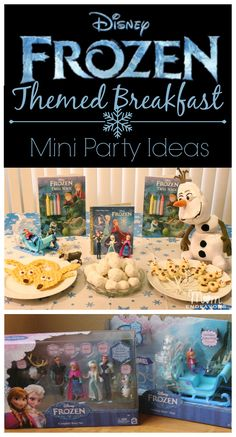Super cute! Fun foods, ideas, and toys for a Disney FROZEN themed breakfast or mini party via momendeavors.com! #FrozenFun #Disney #shop #cbias