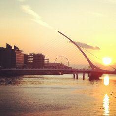 The sun rising over the Liffey in Dublin