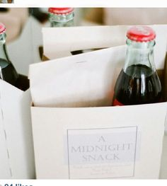 Looking for a unique wedding favor idea? We love, love, love a midnight snack pack! Make it extra special by including foods & sweets that your city is known for!
