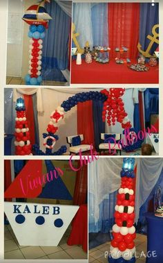 Columns or lighthouse $125, arch $250 6 foot version, octopus $75 Nautical Baby Shower Decorations, Balloon Decorations, Baby Shower Themes, Baby Boy Shower, Sailor Baby Showers, Anchor Baby Showers, Nautical Mickey, Nautical Party, Twins 1st Birthdays