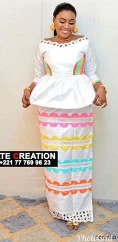 Blanc couleur African Lace Dresses, African Fashion Dresses, African Attire, African Wear, African Women, Africa Dress, Islamic Fashion, Ankara Dress, African Design