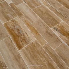 In either the random size or a herringbone pattern. BuildDirect: Travertine Tile Travertine Tile Planks and Sets Matisse Venus Vein Cut Wood Plank Flooring, Travertine Floors, Wood Planks, Hardwood Floors, Flooring Ideas, Tile Flooring, Floor Patterns, Tile Patterns, Matisse