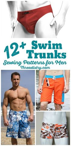 DIY Swim Trunks for men. From Speedo sewing patterns to board shorts and Euro-style swim trunks, sew these swim trunks for the men in your life.