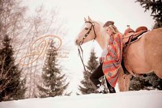 Maternity, horses Palomino hippy Navajo print western roping saddle concho snow winter