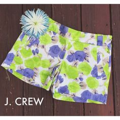 Floral J. CREW Shorts Like New!✨ Looks brand new! Worn once for a few hours. No signs of wear at all. 5 inches inseam, 20 inch waist flat, 15 inches length. Side zipper. Womens size 2 stretch. Please make reasonable offers!☺️ J. Crew Shorts