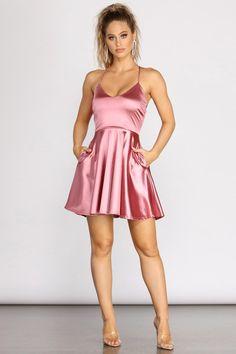 A Moment In Satin Skater Dress – Windsor Satin Skater Dress, Skater Style Dress, Satin Dresses, Skater Dress Outfits, Skater Skirts, Windsor Dresses Homecoming, Cute Homecoming Dresses, Cute Dresses, Prom Dresses