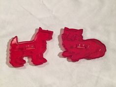 Vintage HRM Red Plastic Cookie Cutters Lot of 2 Cat & Scotty Dog USA | eBay