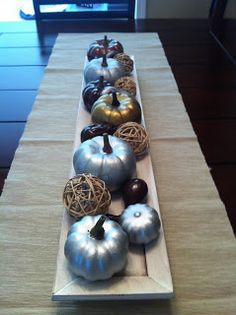Metallic spray paint transforms cheap pumpkins