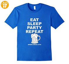 Spring Break 2016 Shirt | Eat Sleep Party Repeat T-Shirt Herren, Größe M Königsblau (*Partner-Link)