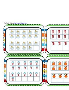 """Here's a set of Seuss-themed ten frames for a """"Write the Room"""" activity on numbers 11-20."""