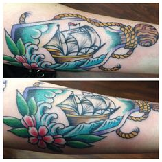 Ship tattoo, ship in a bottle, tattoos, ink, cute ship, traditional tattoo, nautical tattoo. Done by Sean Huston at Sailors Grave San Diego Healed with Whipped Tattoo Cream