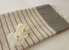 Organic Bamboo Turkish Towel, Peshtemal, beach and bath towel, yoga, spa, hammam towel, Natural Soft Bamboo, Elegant Brown Striped. $32.50, via Etsy.