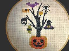 Wonderful handmade Halloween tree finished cross stitch, jack o lantern completed needlework, witch, skull, candy, pumpkin, bat cross stitch in