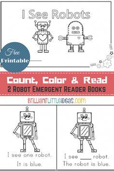 Free Printable! 2 Robot Emergent Reader Books. Robot theme printable book for kids emergent reader for kids Robot theme fun Friday