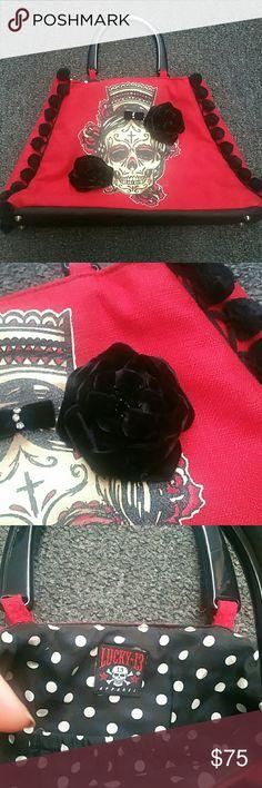 Rockabilly Purse Dios de Los Muertos Sugar Skull Purse with Velvet Roses and Pompoms Lucky 13 Bags Satchels
