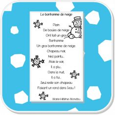 Poésie Le Bonhomme de neige French Teaching Resources, Teaching French, Christmas Activities For School, Holiday Poems, French Poems, Core French, Preschool Music, French Classroom, French Teacher