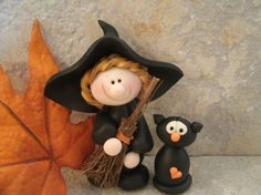 Halloween Witch  Broom  Black Cat  Glow in by countrycupboardclay, $13.95