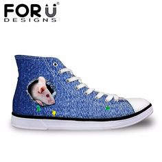 FORUDESIGNS Spring Women's Vulcanize Shoes High-top Casual Canvas Shoes for Ladies 3D Denim Animal Ferret Cat Prints Flats Shoe