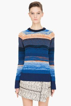 Proenza Schouler Blue Striped Knit Pullover for women | SSENSE