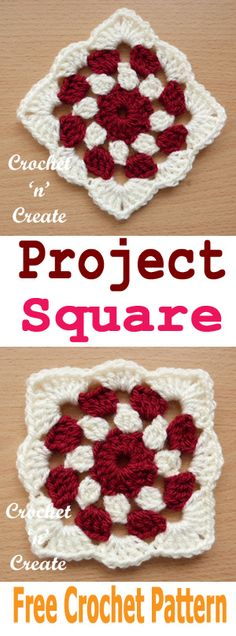 Crochet project square, join together to make place mats, coasters, blankets. #crochetncreate #freecrochetpatterns #crochetgrannysquare