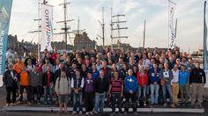 Les 91 skippers de la Route du Rhum-Destination Guadeloupe 2014, sur le port de Saint-Malo le 30 octobre 2014.