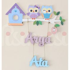 Personalised Kids Childrens Baby Sibling Room Door / Wall Hanging Name Plaque Sign - Lilac & Blue Owl Design  #Christmas #Christmas2015 #Xmas #Xmas2015 #XmasShopping
