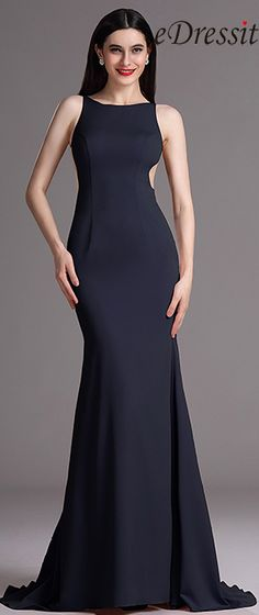 eDressit Navy Blue Sleeveless Evening Gown with Mermaid Train