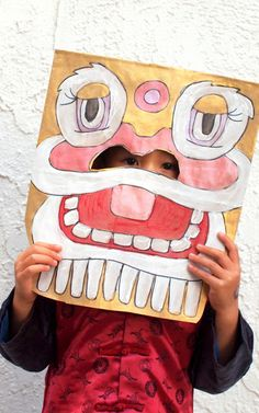 Chinese New Year Paper Bag Lion Masks (And a book list!) Chinese New Year Paper Bag Lion Mask Kids Craft
